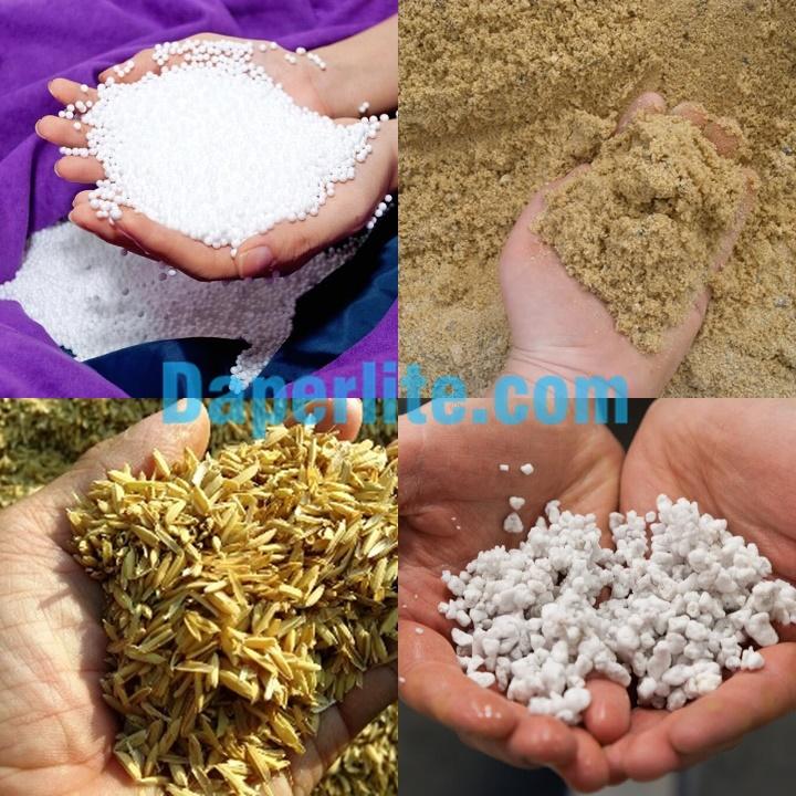 Các nguyên vật liệu có thể dùng thay thế đá Perlite trân châu: vỏ trấu, xốp, cát